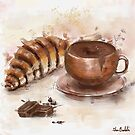 Painting of Chocolate Delights, Pastry and Hot Cocoa by ibadishi