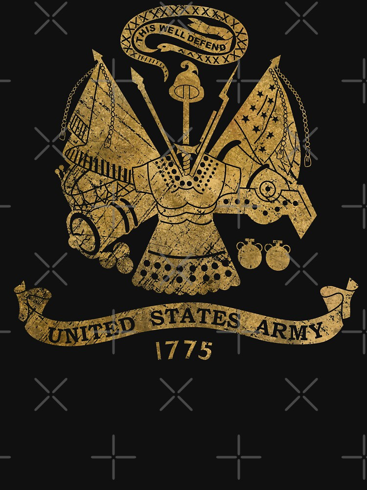 Vintage US Golden Army Coat of Arms by Lidra