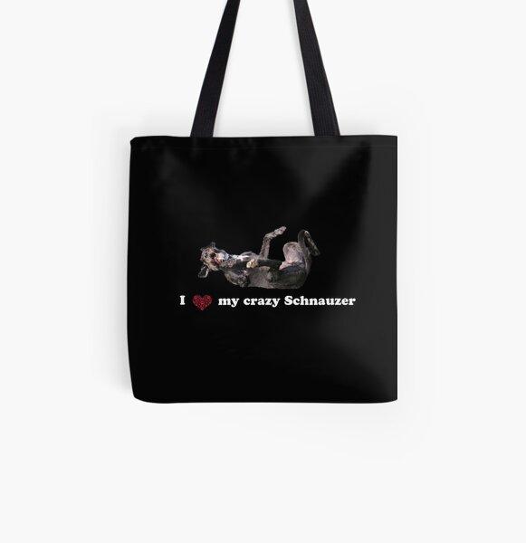 I love my crazy Schnauzer Allover-Print Tote Bag