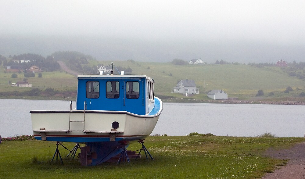 Fog in the harbour by Roxane Bay