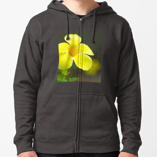 Yellow flower Zipped Hoodie