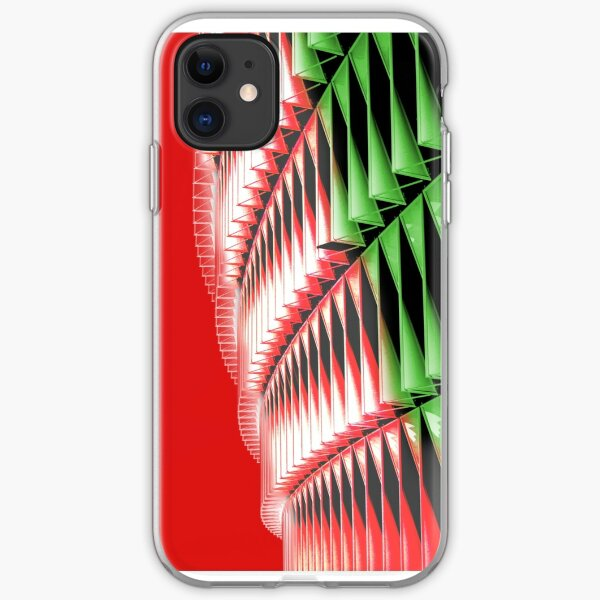 Red green white abstract structure iPhone Soft Case