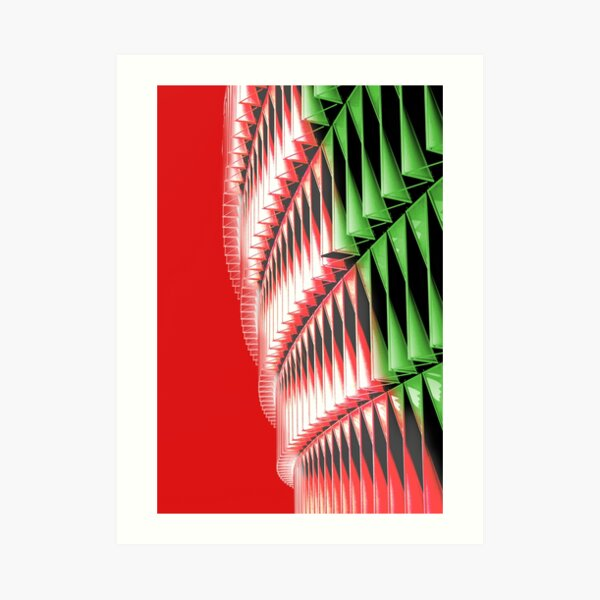 Red green white abstract structure Art Print