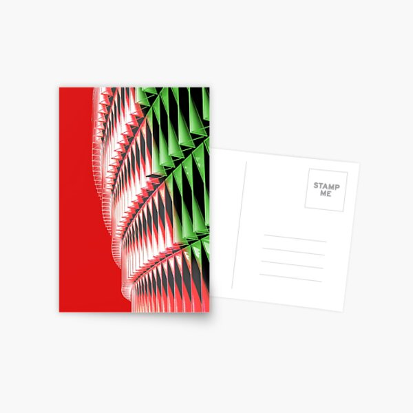 Red green white abstract structure Postcard