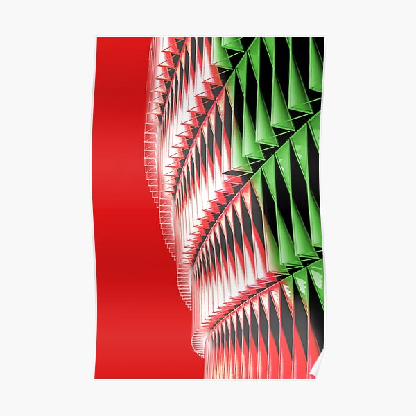 Red green white abstract structure Poster
