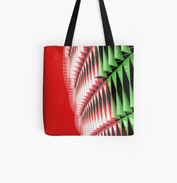 Red green white abstract structure All Over Print Tote Bag