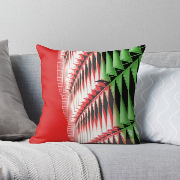 Red green white abstract structure Throw Pillow