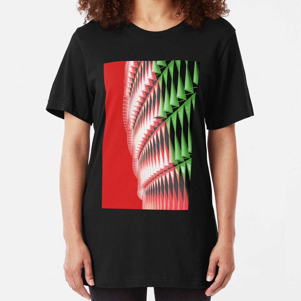 Red green white abstract structure Slim Fit T-Shirt