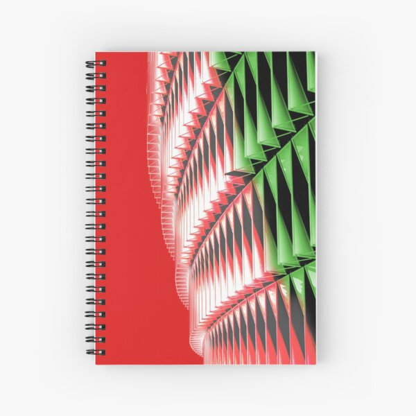 Red green white abstract structure Spiral Notebook
