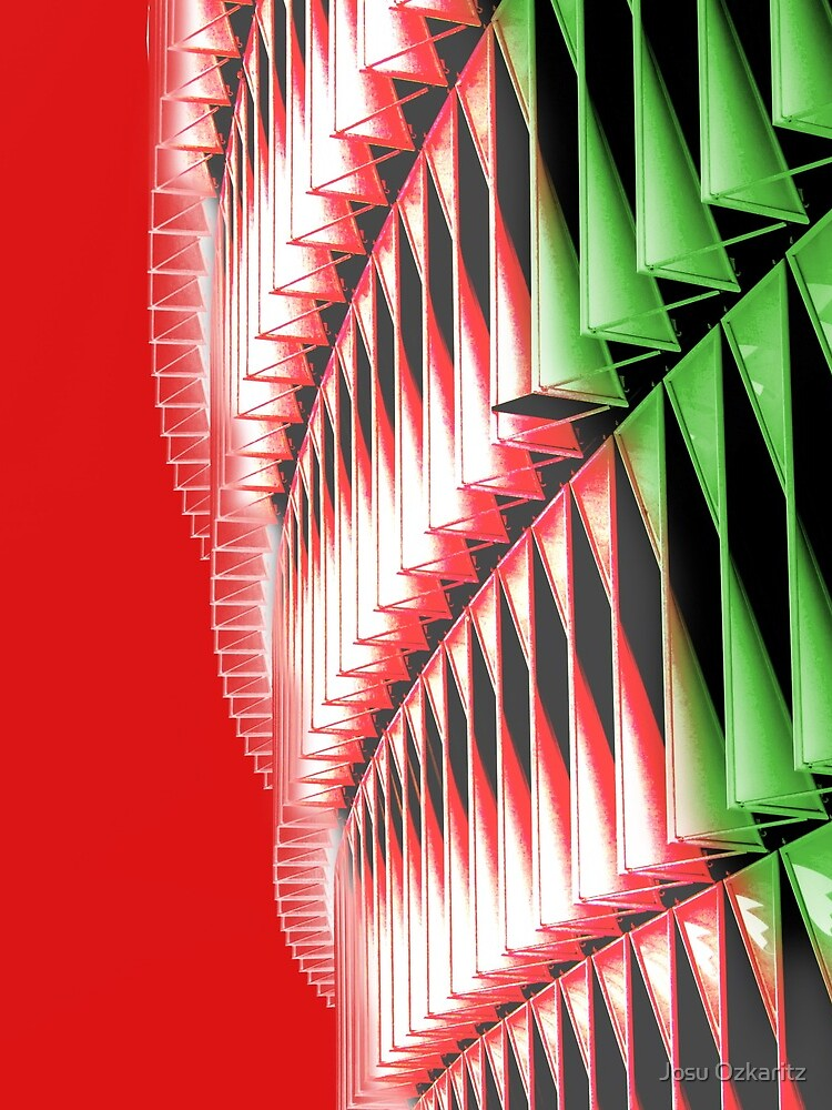 Red green white abstract structure by Joshollywood