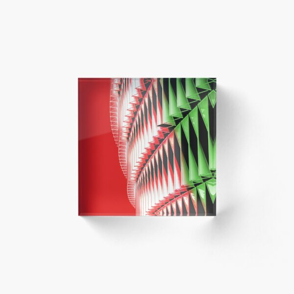 Red green white abstract structure Acrylic Block