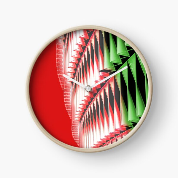 Red green white abstract structure Clock