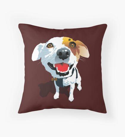 Crazy Eyes Fox Terrier Puppy Throw Pillow