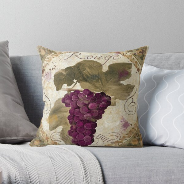 Tuscan Table Rouge Wine Grapes Throw Pillow
