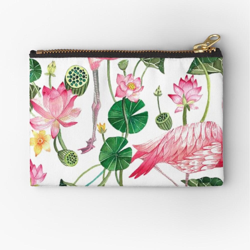 Summer Pink Flamingos Zipper Pouch