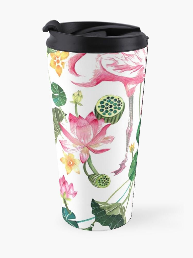 Alternate view of Summer Pink Flamingos Travel Mug