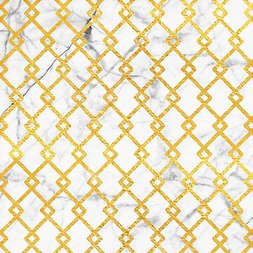 Gold + White Marble Zig-Zag Pattern (3)  by lewbarberdesign