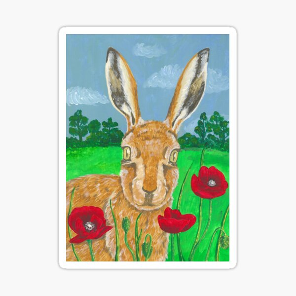 Poppies and Hare  Sticker