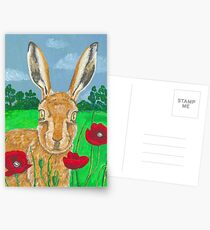 Poppies and Hare  Postcards