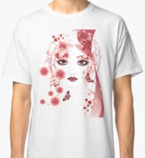 Girl with flowers and butterflies 2 Classic T-Shirt