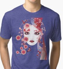 Girl with flowers and butterflies 2 Tri-blend T-Shirt