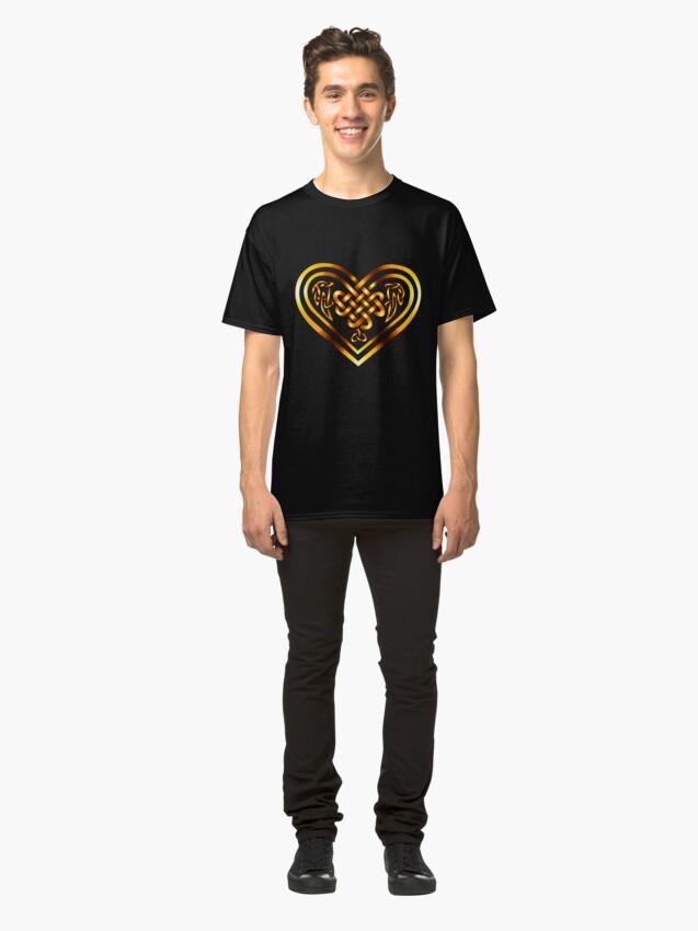 Alternate view of Celtic Heart - Gold on Black Classic T-Shirt