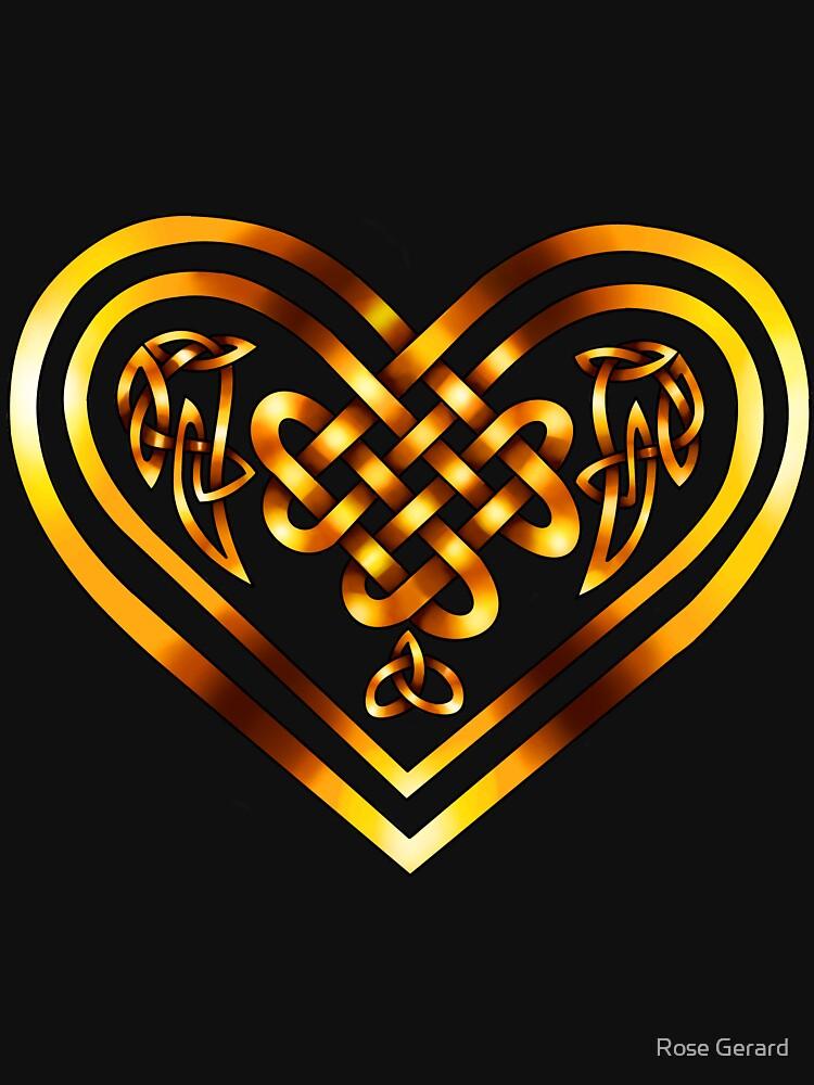 Celtic Heart - Gold on Black by arkadyrose