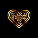 Celtic Heart - Gold on Black by Rose Gerard