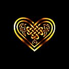 Celtic Heart - Gold on Black by Rose Gerard