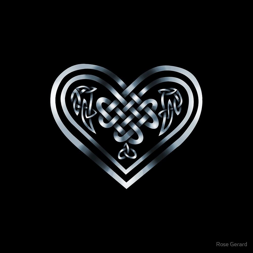 Celtic Heart - Silver on Black by Rose Gerard