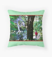 Moutain Pool and Waterfalls Throw Pillow