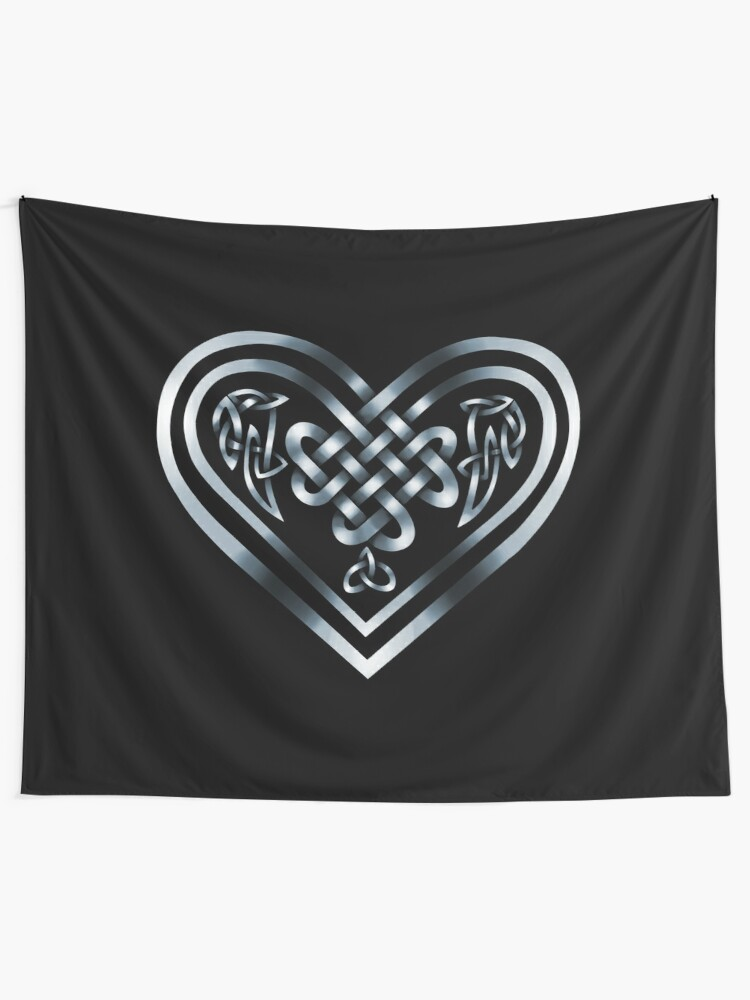 Alternate view of Celtic Heart - Silver on Black Tapestry