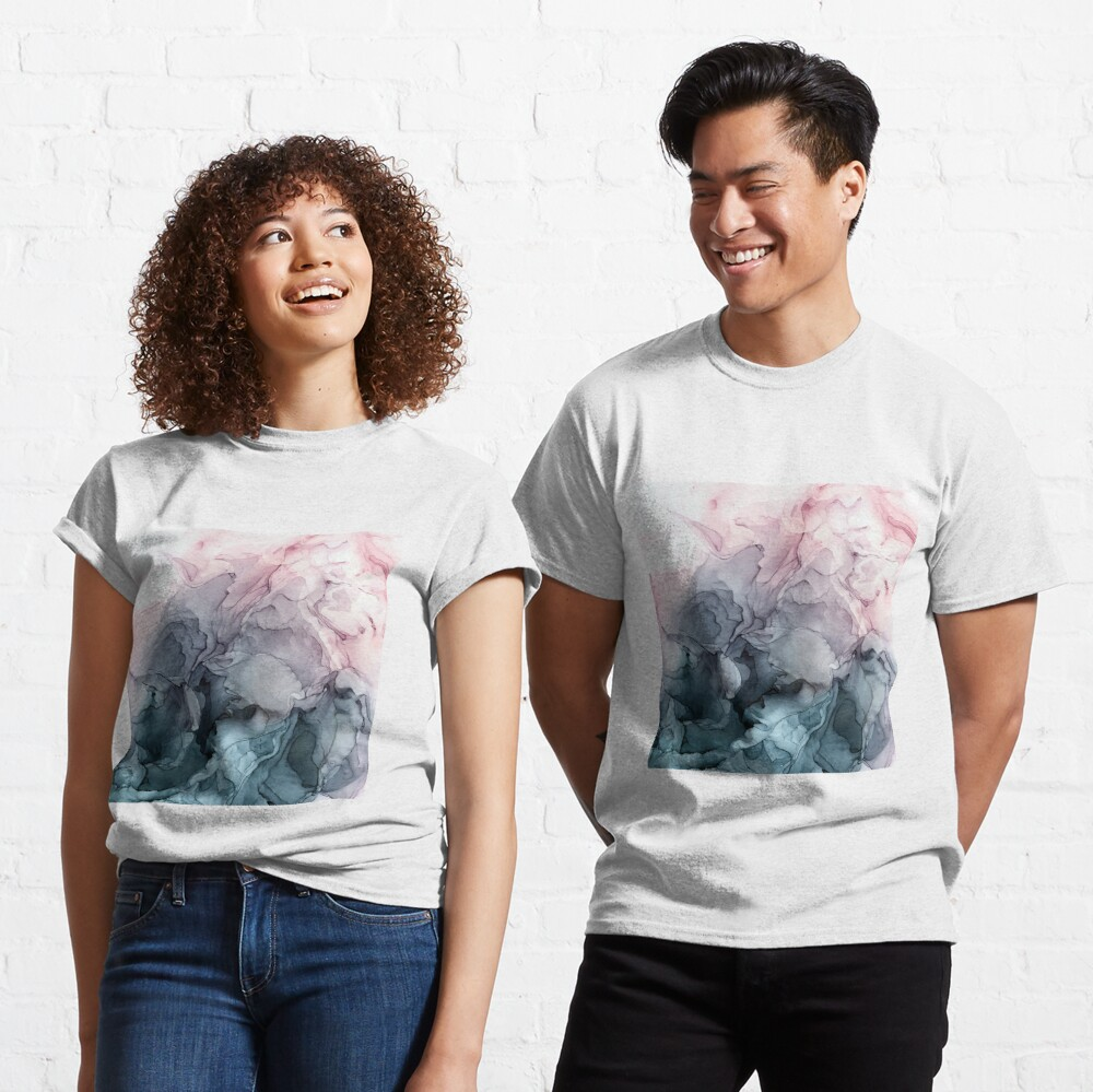 Blush and Payne's Grey Flowing Abstract Painting Classic T-Shirt