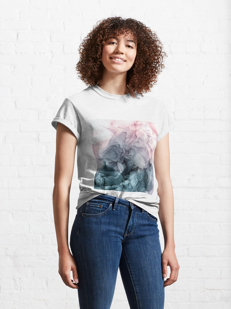 Alternate view of Blush and Payne's Grey Flowing Abstract Painting Classic T-Shirt