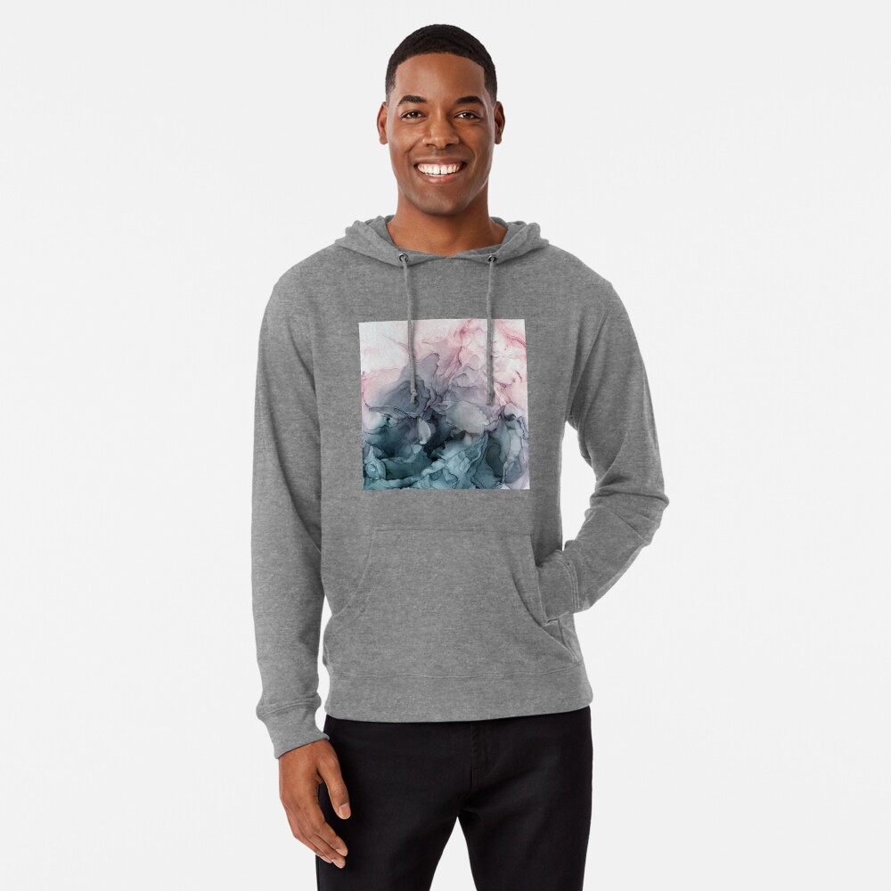 Blush and Payne's Grey Flowing Abstract Painting Lightweight Hoodie