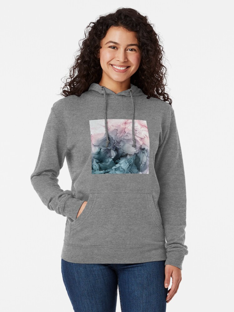 Alternate view of Blush and Payne's Grey Flowing Abstract Painting Lightweight Hoodie