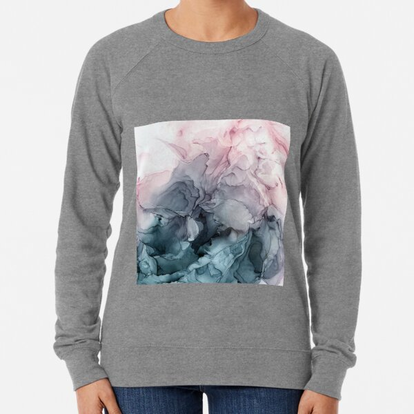 Blush and Payne's Grey Flowing Abstract Painting Lightweight Sweatshirt