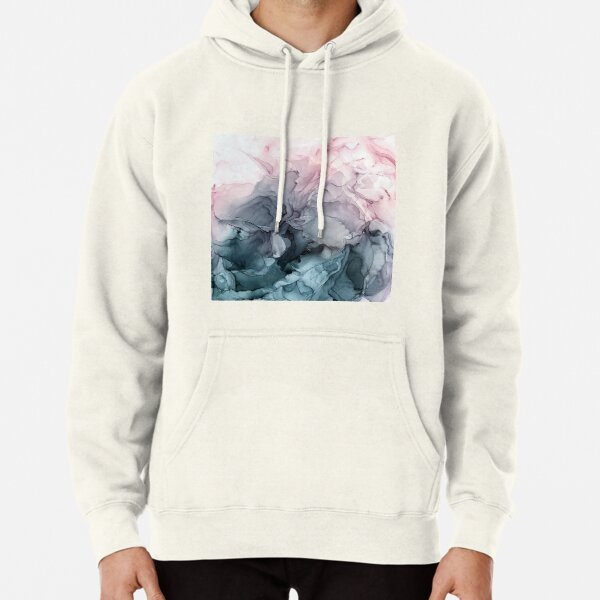 Blush and Payne's Grey Flowing Abstract Painting Pullover Hoodie