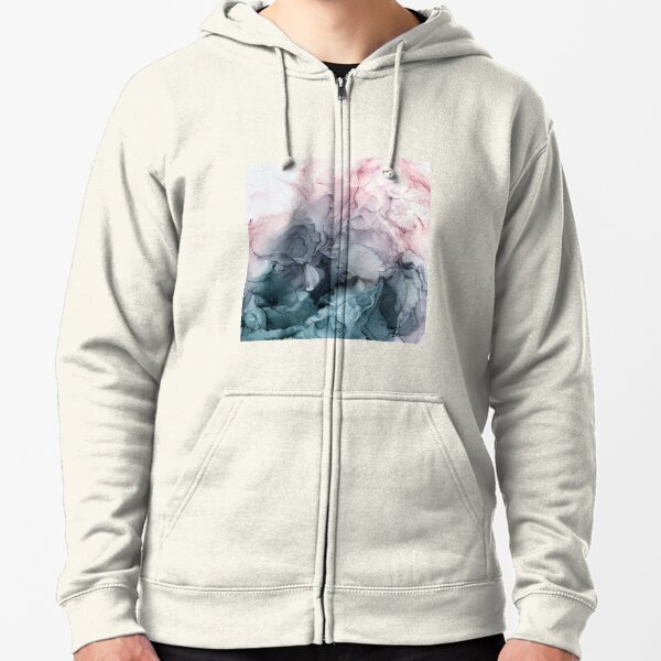 Blush and Payne's Grey Flowing Abstract Painting Zipped Hoodie
