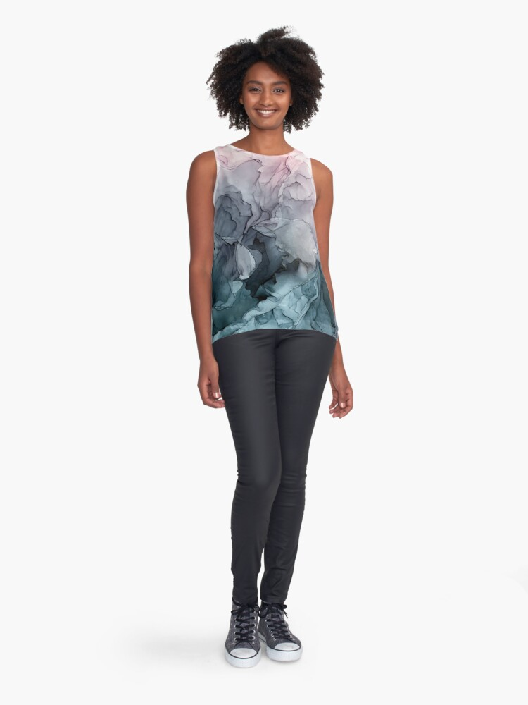 Alternate view of Blush and Payne's Grey Flowing Abstract Painting Sleeveless Top