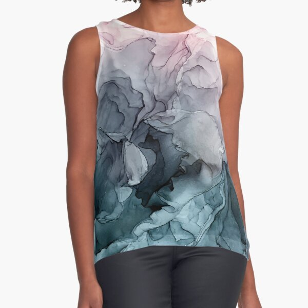 Blush and Payne's Grey Flowing Abstract Painting Sleeveless Top