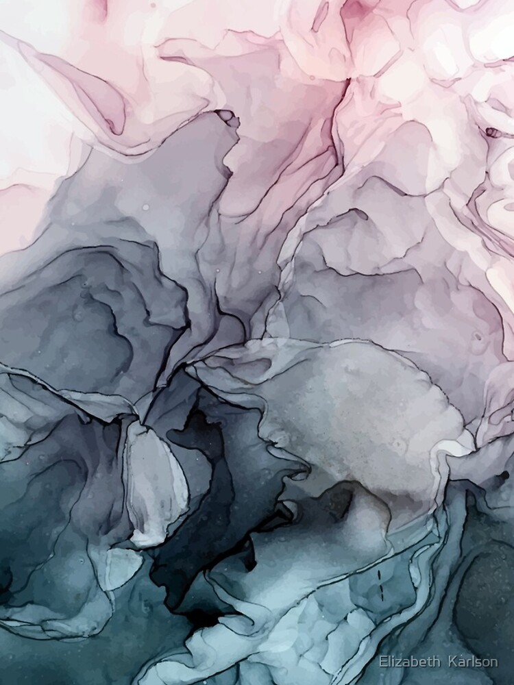 Blush and Payne's Grey Flowing Abstract Painting by LSchulz19