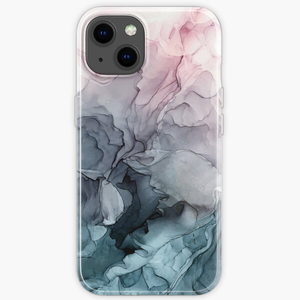 Blush and Payne's Grey Flowing Abstract Painting iPhone Soft Case