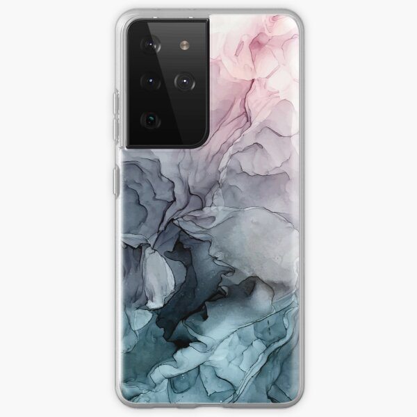 Blush and Payne's Grey Flowing Abstract Painting Samsung Galaxy Soft Case