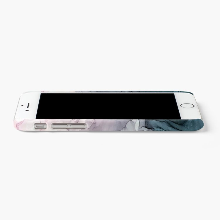 Alternate view of Blush and Payne's Grey Flowing Abstract Painting iPhone Case & Cover