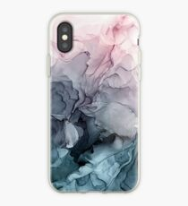 Blush und Paynes graue fließende abstrakte Malerei iPhone-Hülle & Cover