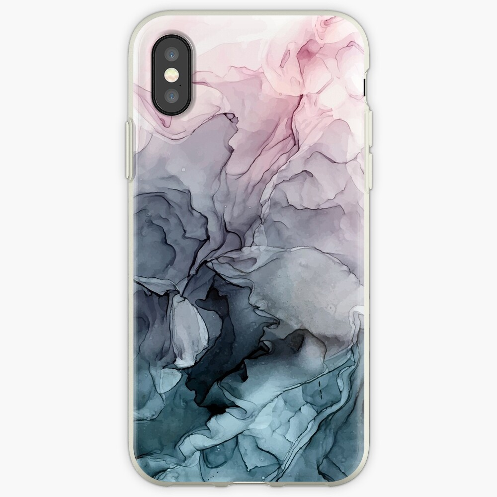 Blush and Payne's Grey Flowing Abstract Painting iPhone Case & Cover