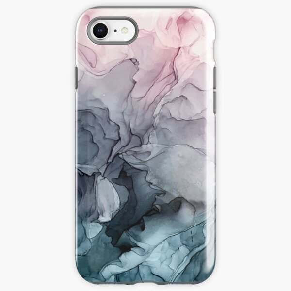 Blush and Payne's Grey Flowing Abstract Painting iPhone Tough Case