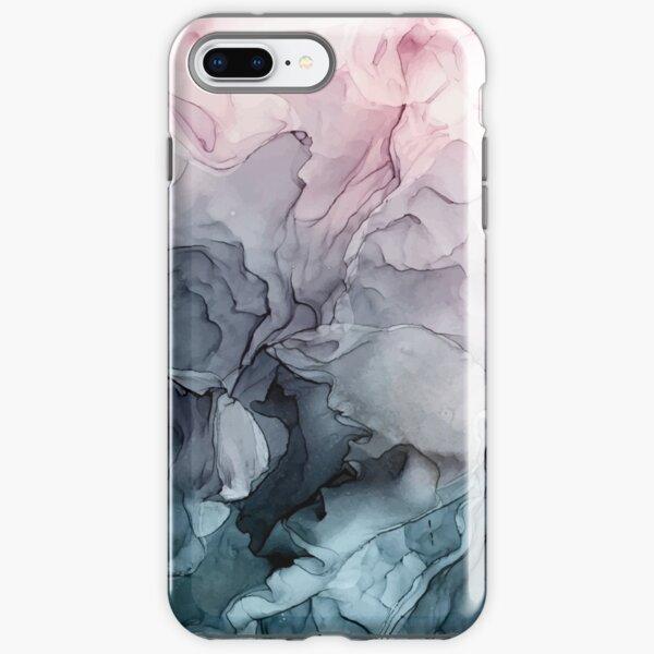 Blush y la pintura abstracta que fluye gris de Payne Funda resistente para iPhone