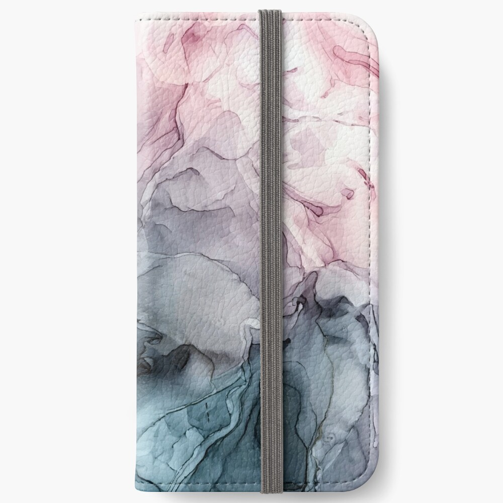 Blush and Payne's Grey Flowing Abstract Painting iPhone Wallet